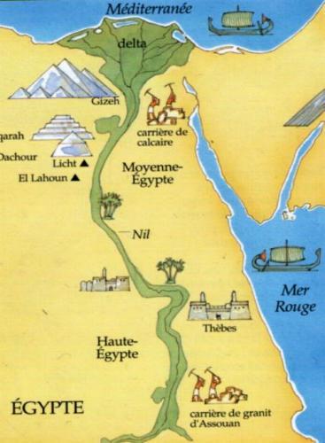 Plan géographique la terre y est plus aride et le fleuve est bordé